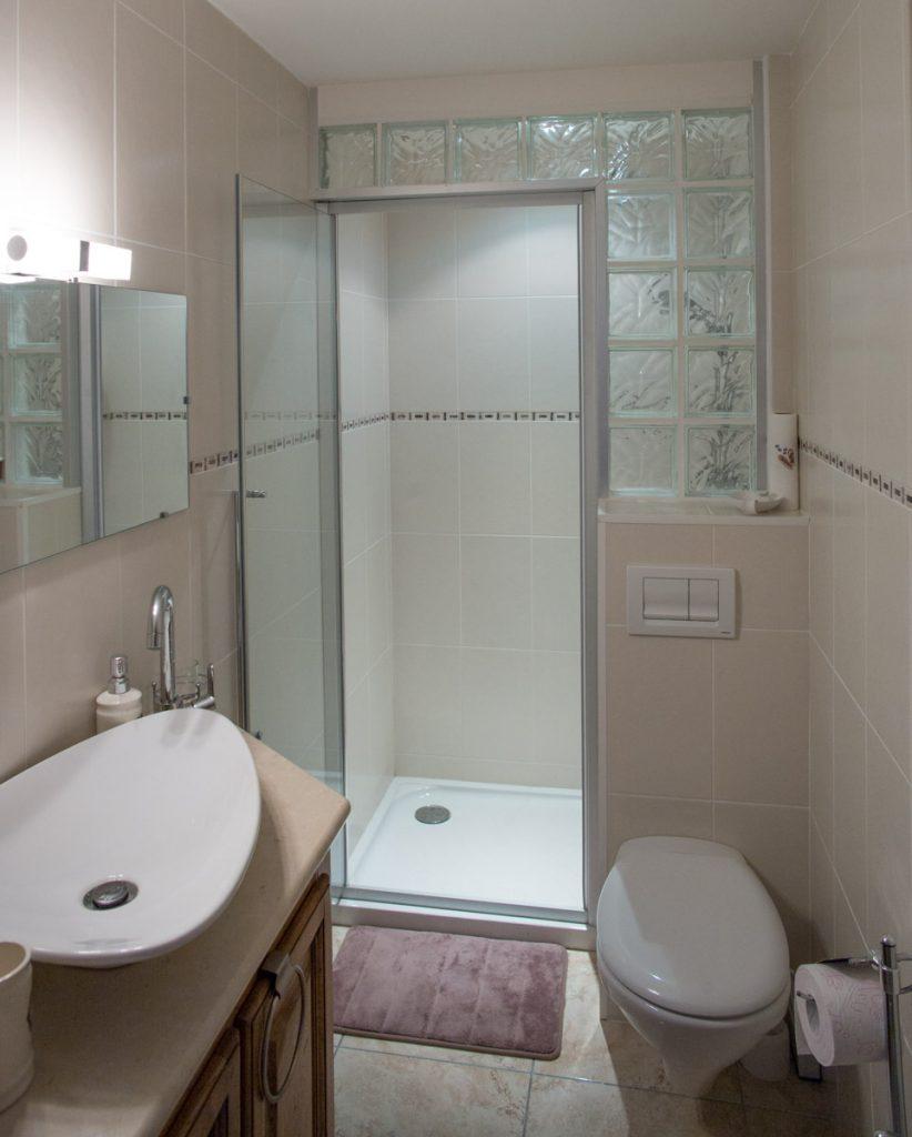 Looking into the bathroom